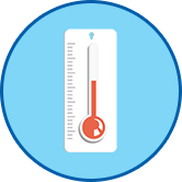 Thermometer rundes Symbol